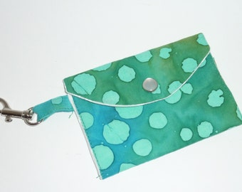 Coin Purse - Blue Green Batik Print