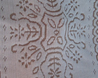 Vintage Brown Off White Flower Chenille Bedspread Very Heavy Well Made Maybe Wool Chenille