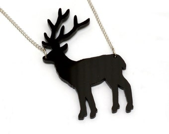Deer Necklace, Acrylic Stag Pendant Necklace