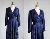 VALENTINES DAY SALE 1980s midnight blue Silk wrap dress mid length / s