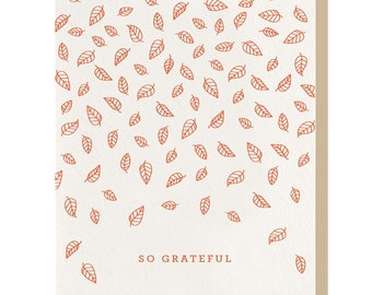 Letterpress 'So Grateful' Greeting