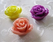 Drilled Resin Acrylic Ruffled Rose Flower Beads 16mm 948