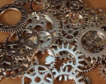 SteamPunk Gears Antique Silver Steam Punk 50 gears / scrapbook gears / craft gears - wholesale