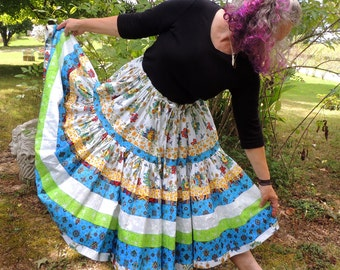 Two Tier Full Circle Bohemian Patchwork Skirt