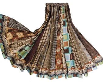 Long Panel Bohemain Patchwork Skirt