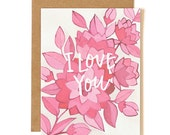 Pink Floral I Love You Illustrated Card//1canoe2