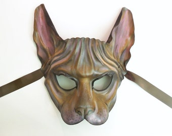 Sphynx Cat Leather mask Wearable Art wall hanging costume Halloween masquerade