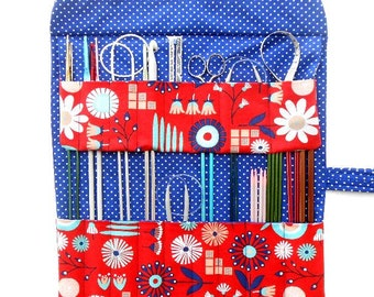 Blue Red Knitting Needle Case, White Polka Dots Crochet Hook Holder, Double Pointed Needle Organizer, Artist Brushes Roll, Pencil Storage