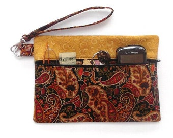 Gold Paisley Wristlet Clutch Bag, Rust Black Small Zippered Purse, Womens Clutch Wallet, Makeup or Phone Bag, Cell  Phone Wallet, Gadget Bag