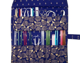 Blue Gold Floral Knitting Needle Roll, Anchors Crochet Hook Organizer, Double Pointed Needle DPN Case, Artist or Makeup Brushes Organizer