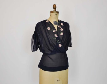 20s blouse / Bohemian Vintage 1920's Silk Embroidered Blouse