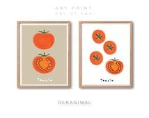 ANY PRINT Set of 2, Tomato print set,  Fruit Print, Vegetable Print, botanical art print, Animal Print, kitchen wall art, Watercolor Art