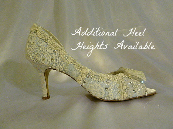 Something Blue Wedding Shoes .. Low Heel Wedding Shoes.. Vintage Lace Bridal Shoes .. Peep toes ..FREE Shipping within the USA