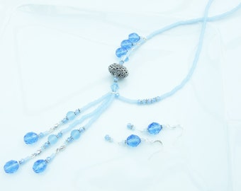 SET - Blue Multi-pendant offset Necklace and Earrings