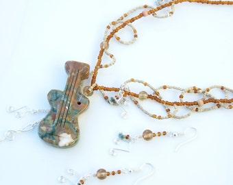 Brown Jewellery SET - GEMSTONE Kambala JASPER Guitar Musical Notes Ornate Pendant Necklace and Earrings