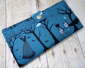 sale - Handmade Wallet  BiFold Clutch - Vegan Wallet - Boo Halloween Lane Graveyard Silhouette
