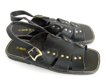 Mens Black Leather Strap Flat Sandals  Mens Black T-Strap Hippie Shoes Made In Spain Deadstock Shoes / Size 10