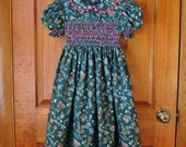 Girls dark green, smocked dress, Size 5, pink flowers, white flowers, light green vines, ready to ship, tea length, party dress, OOAK,