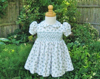 Baby toddler smocked dress, size 12 Mo, teal and aqua floral, ready to ship, party dress, special occasion, toddler, OOAK, birthday gift