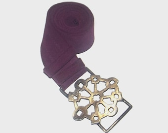 1970s belt / vintage 70s belt / suede leather / OSFM / Purple Suede Artist Belt