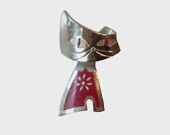1960s vintage pin / 60s vintage brooch / metal / Mod Kitty Brooch in Orange or Red