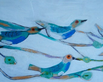 outsider EMERY orig painting 'birds ride out the wind'