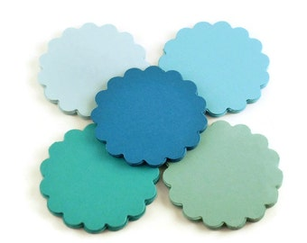 Three Inch Circles Paper Die Cut  3 inch  Scalloped Circles  in  Ocean Set of 25