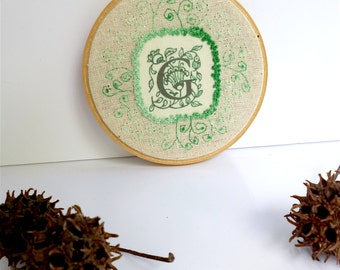 Monogram G hoop art, free style hand embroidery, home decor french knot stitch wall art