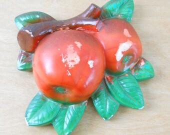 Vintage Chalkware Fruit • Kitchen Decor Chalk Ware Apples • 1957 Miller Studios