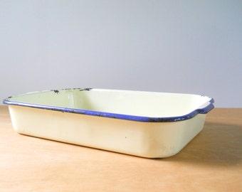 Vintage Enamelware Pan • Yellow and Blue Vintage Enamelware • Rectangular Enamelware Pan