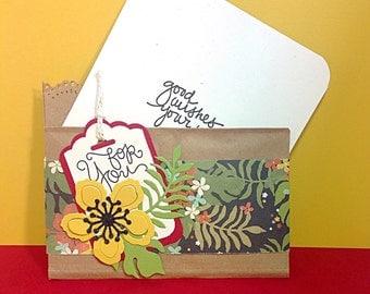 Paper Bag Botanical Gift Card Holder