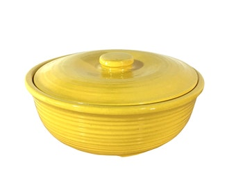 1930s Pottery Casserole with Lid, Ribbed Bright Yellow Serving Dish, Vintage Kitchen Decor, Garden City Pottery, California Ceramics