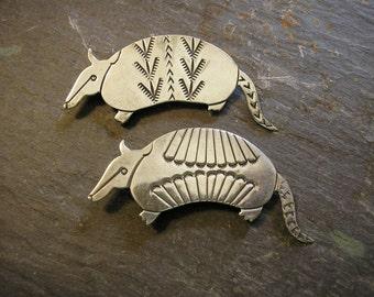 ARMADILLO Pin Brooch, pair, Handmade, Tribal Stampwork, Original & FUN!