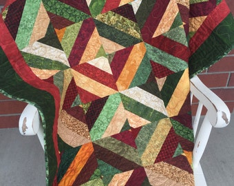 Intricate Patchwork Quilt -  Bountiful Harvest Layers 46x62 inches