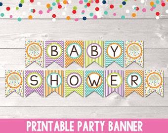 Umbrella Baby Shower Printable Banner Bunting Purple Orange Green & Blue PDF INSTANT DOWNLOAD
