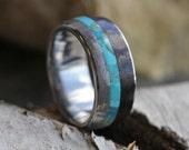Gibeon Meteorite and Dinosaur Bone Wedding Band with Turquoise Center Stripe, Titanium Ring, Men's Turquoise Ring