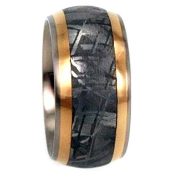 Meteorite Ring with 18k Yellow Gold Pinstripes, Titanium Wedding Band, Commitment Ring