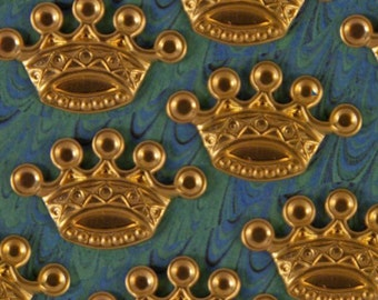 9 Small Brass Crown Stampings