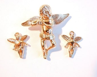 Set of Gold-tone Dimensional Cherub Angel Pendant and Charms