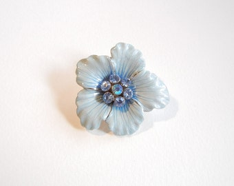 Blue Enamel Flower Pendant with Double Link Light Blue Rhinestone Center