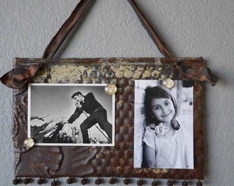 Magnetic Memo board & Picture Frame / Antique Ceiling Tin