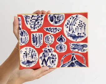 Handmade, Pottery, Tray, Freer House, Preppy, Graphic Pattern, Red, Blue