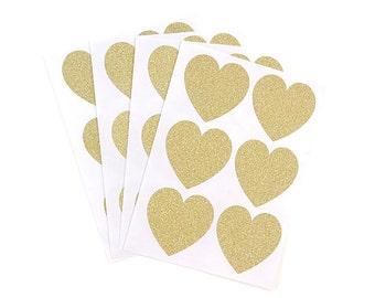 24 Heart Stickers - Gold Glitter Stickers - Sticker Set - Envelope Seals - Paper Stickers - Wedding Stickers - Gold Stickers - Gift Stickers