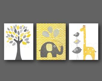 Yellow and gray Chevron Nursery decor baby Boys and Girls room decor Children Kids art elephant giraffe bird Tree - Set of three prints