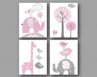 Pink Gray Baby Girl room decor Nursery Decor Kids Room wall art Home Décor Elephant Children's Art Bird nursery Tree Set of 4 prints