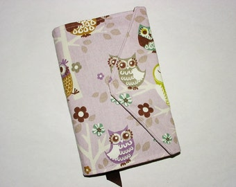 Paperback Book Cover Trade Size Fabric Bookcover Large Book Sleeve: Owl Print Plum-Purple Brown Gray Tan Green