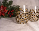 one stemless gold leopard wine glass for Emily Smith