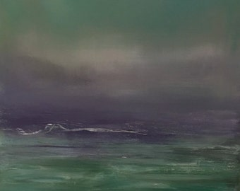 Blue Green Ocean - Original Painting- 18 x 24-Blue Green- Thick Edge Painted 1-1/2 inche Wide- Ready to Hang or can be Framed