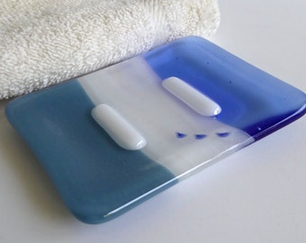 Fused Glass Soap Dish in Dusty Blue, Streaky White and Sky Blue