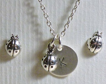 Ladybug Jewelry, Ladybug Hand Stamped Sterling Silver Petite Initial Charm Necklace and Post Earring Set